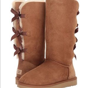 UGG Bailey Bow Tall Boots in Camel Size 10